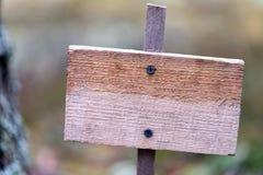 Drewniana pusta plakieta w lesie, samotność, samotność, ochrona środowiska fotografia royalty free