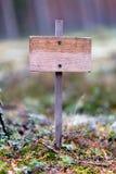 Drewniana pusta plakieta w lesie, samotność, samotność, ochrona środowiska obraz stock