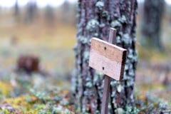 Drewniana pusta plakieta w lesie, samotność, samotność, ochrona środowiska obraz royalty free