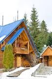 Drewniana rama na tle zima krajobraz Obrazy Royalty Free