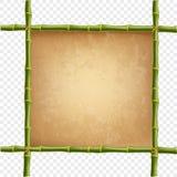 Drewniana rama robić zielony bambus wtyka z retro papierem Obrazy Royalty Free