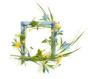 Drewniana rama z liśćmi, błękit i kolor żółty kwitnie Zdjęcie Stock