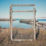 Drewniana rama z siecią Fotografia Stock