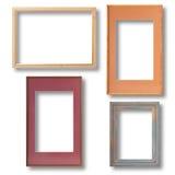 Drewniana rocznik rama odizolowywająca na białym tła zbliżeniu, wyśmiewa up Set Fotografia Stock
