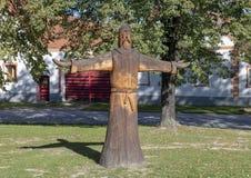 Drewniana rzeźba wioska Holasovice, republika czech fotografia royalty free