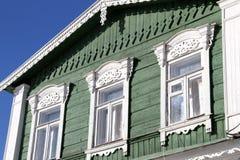 Drewniana rzeźbiąca architektura Zdjęcia Royalty Free