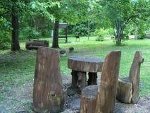 Drewniana rze?ba Lasowi użytkownicy Krajobrazowy teren w promieniach po?o?enia s?o?ce fotografia royalty free