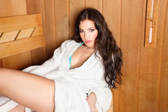 drewniana sauna kobieta Zdjęcie Royalty Free