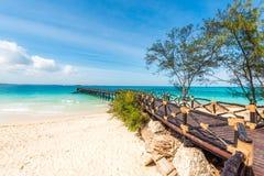 Drewniana scena prowadzi ocean, Afryka Zdjęcie Royalty Free