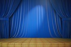Drewniana scena z błękitnym światłem reflektorów i zasłonami Zdjęcia Royalty Free