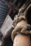 Drewniana smok rzeźba na filarach Jin ancestralna sala w Shanxi prowinci, Chiny obraz stock