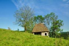 Drewniana stajenka z pokrywającym strzechą dachem Obrazy Royalty Free
