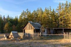 Drewniana stajnia w domu na wsi w lasowym Rosja obrazy royalty free