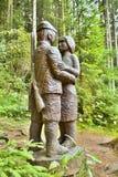 Drewniana statua w lasowym na otwartym powietrzu muzeum w Vydrovo Zdjęcie Royalty Free