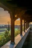Drewniana stróżówka z widokiem na wschodzie słońca na jeziornym Constance Fotografia Royalty Free