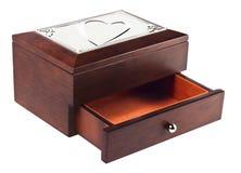 Drewniana szkatuła z sercem na wierzchołku Zdjęcia Stock