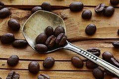 Drewniana tło kawa Obrazy Royalty Free