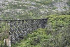 Drewniana Taborowa kobyłka w górach Alaska Obraz Stock
