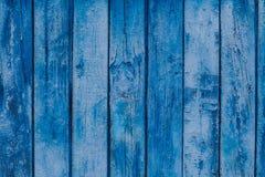 Drewniana tekstura Błękitny stary pal drapający tło panel Obrazy Stock