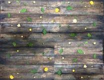 Drewniana tekstura Na górze jesień kwiatów Fotografia Royalty Free