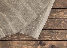 Drewniana tekstura z płótnem Obraz Royalty Free