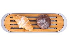 Drewniana tnąca deska dla chleba na białym tle obrazy stock