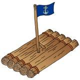 Drewniana tratwa z flaga Obraz Royalty Free