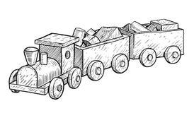 Drewniana zabawka pociągu ilustracja, rysunek, rytownictwo, atrament, kreskowa sztuka, wektor royalty ilustracja