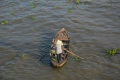 Drewniane łodzie na Mekong rzece zdjęcia royalty free