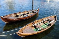 Drewniane łodzie w schronieniu Kristiansand Norwegia obrazy stock