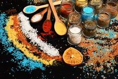 Drewniane łyżki z papryką, turmeric i morze solą, zdjęcia royalty free