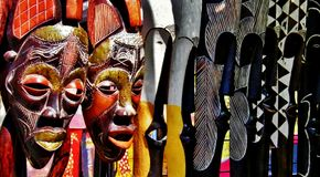 Drewniane afrykanin maski Fotografia Royalty Free