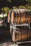 Drewniane baryłki z czerwieni i wihte winem dla kosztować na winnicy Zdjęcia Royalty Free