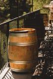 Drewniane baryłki z czerwieni i wihte winem dla kosztować na winnicy Odbitkowa przestrzeń dla teksta i projekta Zdjęcia Stock