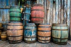 Drewniane baryłki w kolorach Zdjęcie Royalty Free