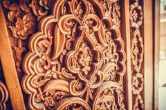Drewniane drzwiowe Arabskie dekoracje Zdjęcie Stock