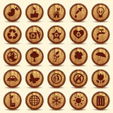 Drewniane ekologii ikony ustawiać. Zieleni środowisko symbole Zdjęcie Royalty Free