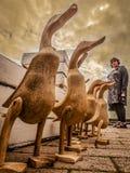 Drewniane kaczki dla sprzedaży Obrazy Royalty Free