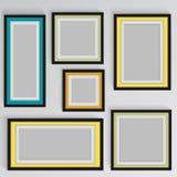 Drewniane kwadratowe obrazek ramy barwią tęczę ustawiającą dla twój sieć projekta Zdjęcie Royalty Free
