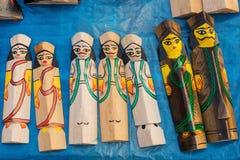 Drewniane lale, Indiańscy rękodzieła uczciwi przy Kolkata Fotografia Stock