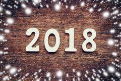 Drewniane liczby tworzy numerowy 2018, Dla sno i nowego roku Obraz Royalty Free