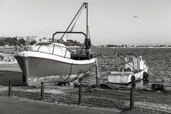 Drewniane łodzie rybackie w starym Nesebar miasteczku Obraz Stock
