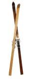 drewniane par wysokogórskie stare narty Zdjęcia Stock