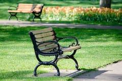 Drewniane parkowe ławki w wiośnie Obrazy Stock