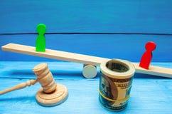 Drewniane postacie ludzie dalej ważą i dolary między one spór między dwa biznesmenami próba Długu restrukturyzacja płaca ar obrazy stock