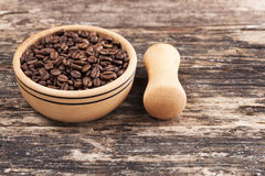 Drewniane pucharu i kawy adra Fotografia Royalty Free
