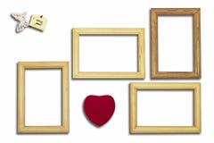 Drewniane ramy, serce i inskrypcja z motylem na a, Obrazy Stock