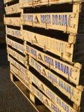 Drewniane rybie skrzynki brogować w połowu schronieniu Palamos Gira obrazy stock