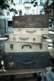 Drewniane walizki Obrazy Royalty Free