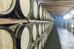 Drewniane wino baryłki na magazynie Obrazy Royalty Free